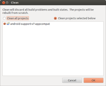 "Clean and Build the project ""android-support-v7-appcompat"""