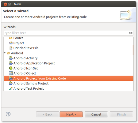 Create new Android project from existing code