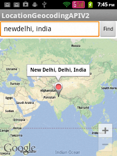Showing user input location in Google Maps Android API V2