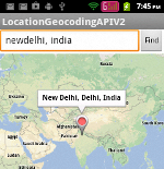 Locating user input location in Android API V2 Demo