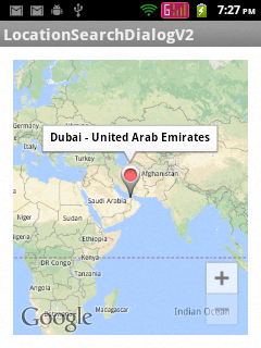 Showing user selected place in Google Maps Android API V2