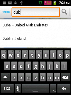 Listing places, as user input place name in Search Dialog