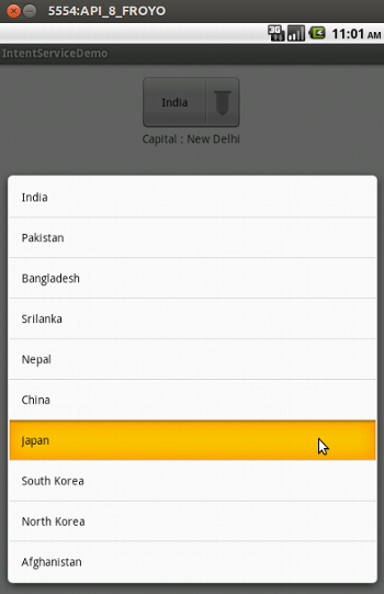 Selecting a country from the Spinner